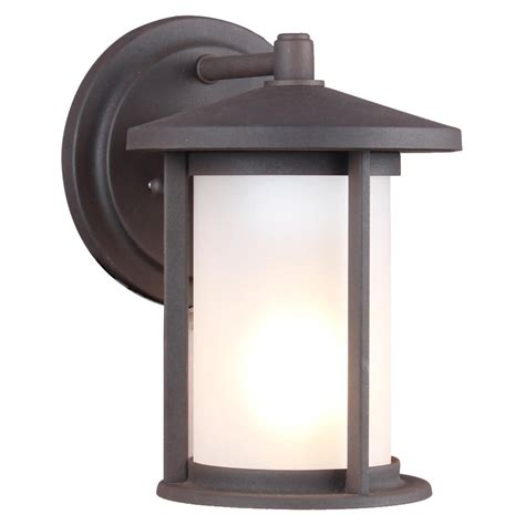 dsi 1 light weathered bronze frosted glass outdoor wall lantern sconce 17545 the home depot