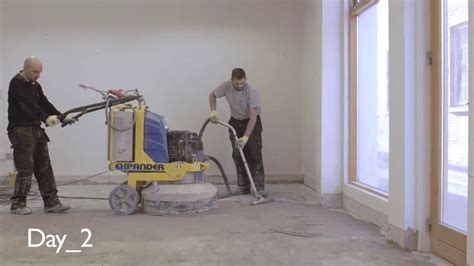 Concrete Polishing, polishing an old concrete floor   P