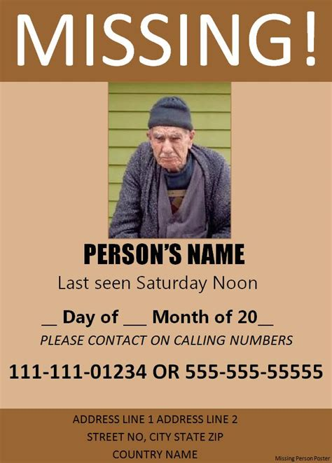 Missing Poster Template 11 Missing Person Poster Templates Free Word Templates