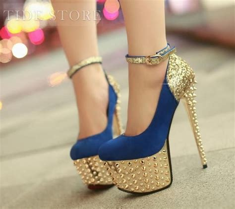 gold heel charming shining high heels platform prom shoes with