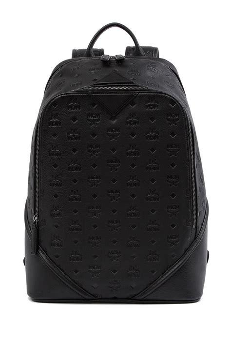 mcm ottomar monogram leather backpack  black lyst