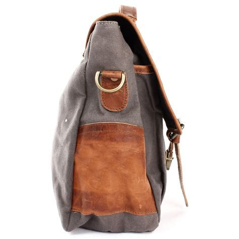 LECONI Messenger Bag Canvas grau LE3018