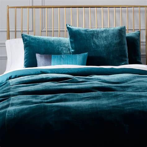 velvet duvet cover luxe velvet duvet cover shams blue teal west elm