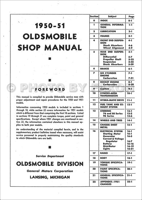 Oldsmobile Repair Shop Manual Original