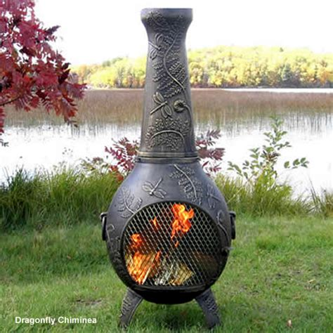 garden chimineas chiminea dragonfly cast aluminum outdoor fireplace