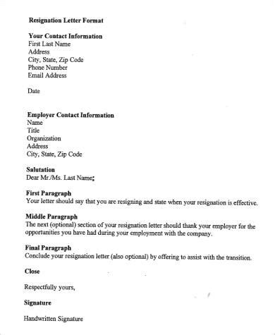 Formal Format Of Resignation Letter by Simple Resignation Letters
