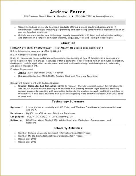 Pharmacy Technician Resume Sle For Student by Cover Letter For Internship With No Experience 20 Images Exle Of College Resume Template