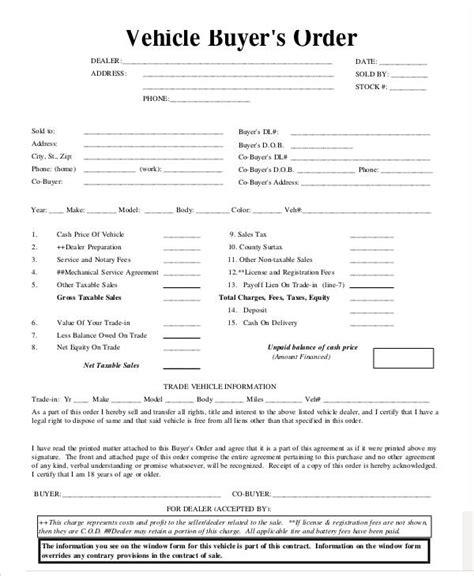 vehicle buyers order form 7 vehicle order templates free sle exle format