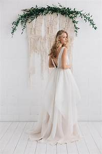 v back pastel champagne sequined lace layered organza With a line boho wedding dress