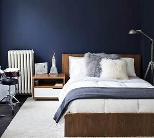 1001 idees pour une deco maison couleur indigo With couleur mur chambre adulte