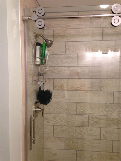 wood tile  shower stall marazzi home depot glass door