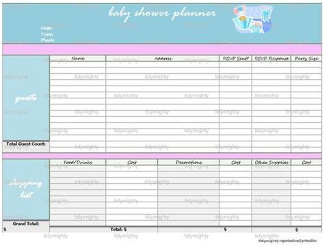 Baby Shower Organizer baby shower planner organizer printable pdf by tidymighty