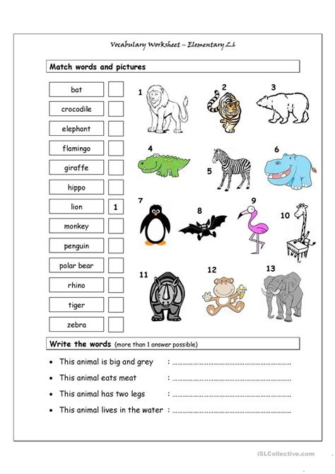 Vocabulary Matching Worksheet  Elementary 26  (wild Animals) Worksheet  Free Esl Printable