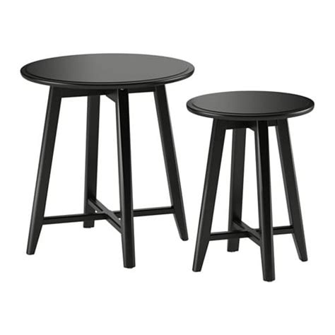 recycled wood coffee table kragsta nesting tables set of 2 black ikea