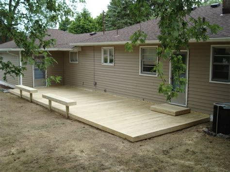 Ground Level Deck Designs Round Inexpensive Footings Home