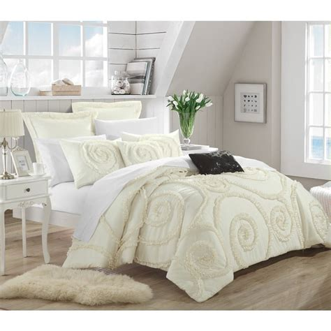 shop chic home rosamond bed   bag cream comforter