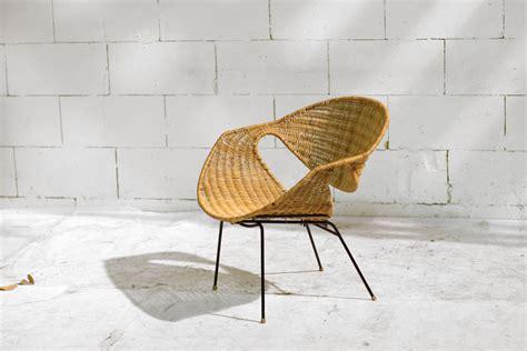 elma van der stoel retro vintage zeldzaam kuip fauteuil riet en draadstaal