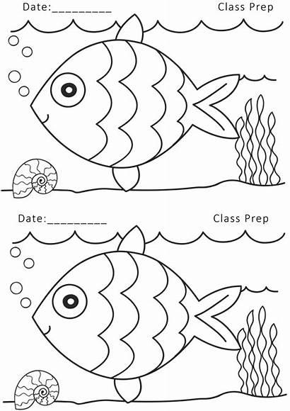 Nursery Worksheets Drawing Pre Printable Coloring Fish