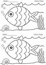 Fish Coloring Drawing Worksheets Nursery Printable Pre Grammar sketch template