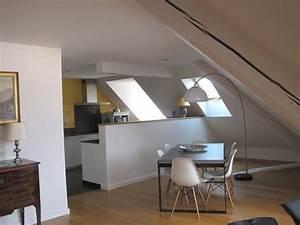 cuisine ouverte sur le salon salle a manger sous les toits With cuisine ouverte sur salon salle a manger
