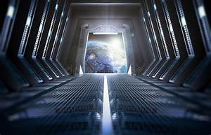 Earth Seen From Inside A Space Station Stock Image - Image ...
