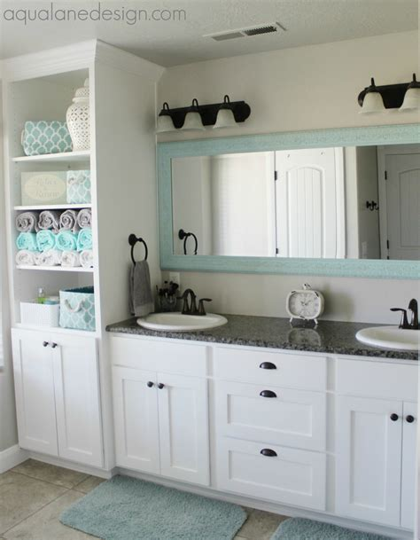 Gray White And Aqua Bathroom by Repose Gray Favorite Paint Colors