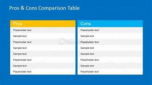 pros cons comparison table for powerpoint slidemodel With pros and cons matrix template