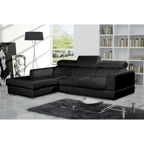 canapé d 39 angle 4 places néto madrid eco cuir noir avec