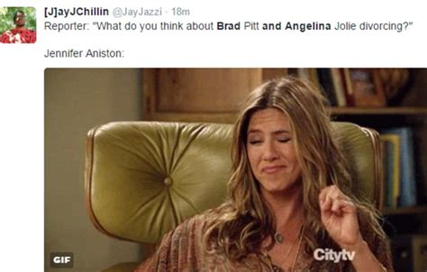 Jennifer Aniston Memes - jennifer aniston memes flood twitter after angelina jolie and brad pitt s divorce daily mail