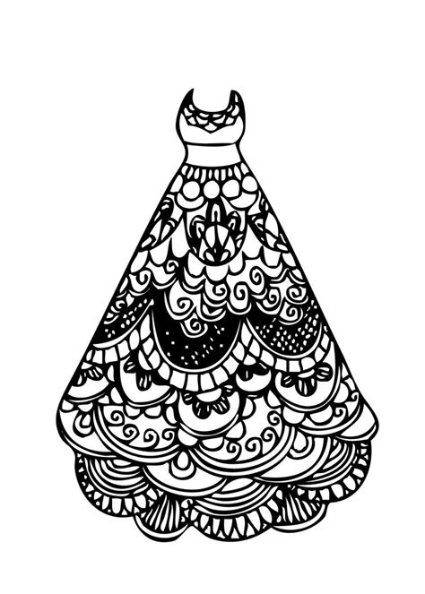 dress lace coloring page  girls printable  coloring  pinterest lace coloring