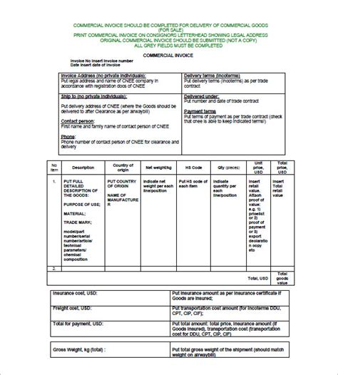 commercial invoice template 30 commercial invoice templates word excel pdf ai free premium templates