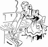 Cooking Mom Retro Housewife Apron Lady Adorable Baking She Stove sketch template