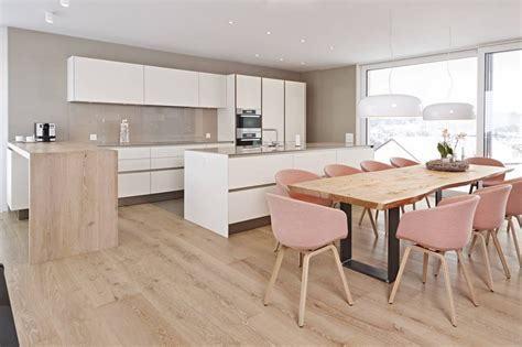 Offene Wohnkuche by Offene Wohnk 252 Che Siematic S2 In Lack Mit Theke Aus Holz