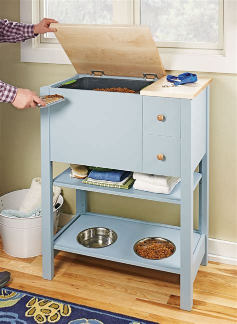 compact pet feeding center woodworking project