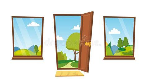 Home Interior Vector : Open Door And Windows Vector. Cartoon Landscape. Front