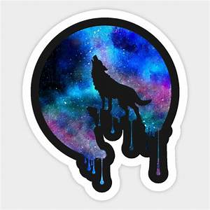 Howling Wolf Moon Space Galaxy Drips Hipster Trend Gift T