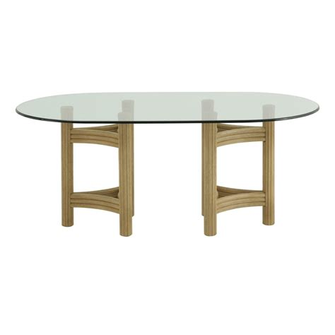 table ovale verre et rotin brin d ouest