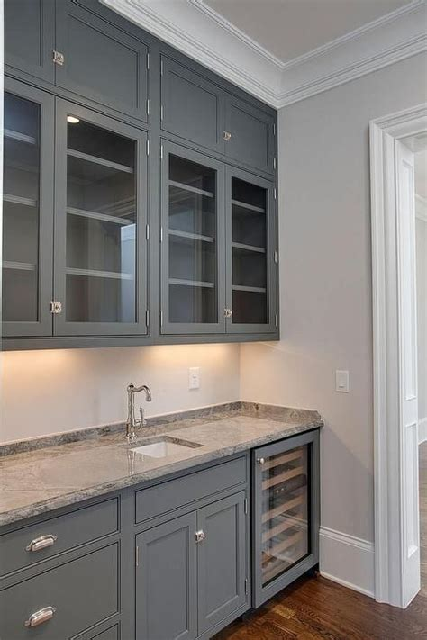 grey kitchen cabinet grey butler pantry features glass front cabinets and 1495