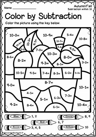 Worksheets Grade Math Subtraction Number Fall Coloring