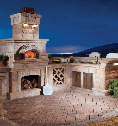 built in brick oven in built in backyard kitchen new