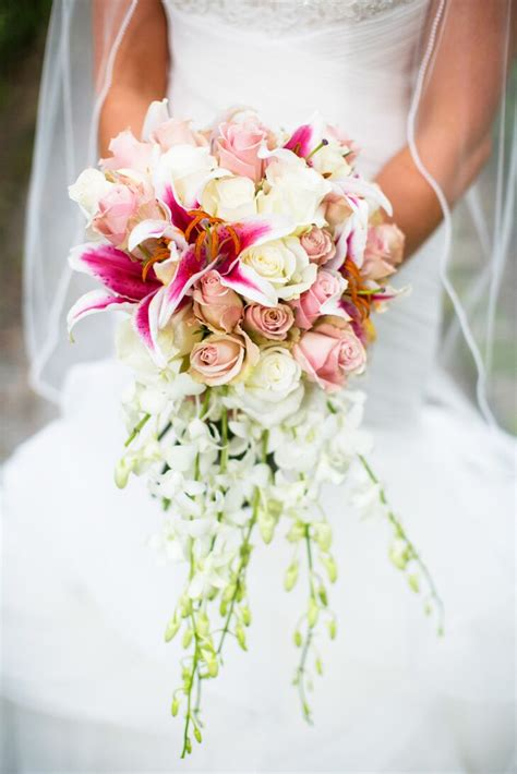 pink lily  rose cascading bridal bouquet