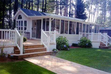 Mobile Home Deck Ideas Pictures by Appealing Mobile Home Deck Design With Taupe Flooring