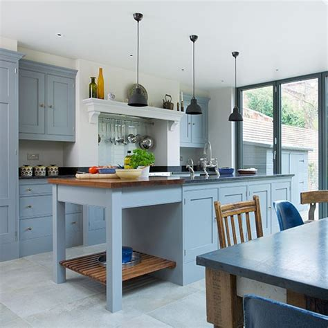 blue and yellow kitchen ideas blue grey kitchen with island unit decorating ideas