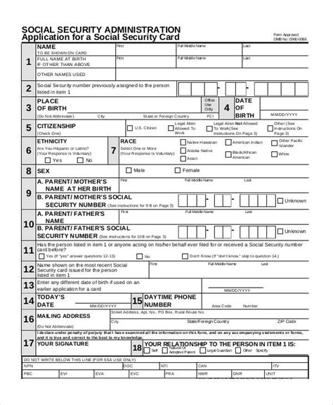 19611 social security application form 55 printable application forms sle templates