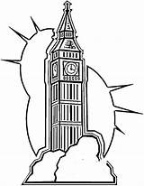 Ben Coloring London Pages Clipart Clock Drawing Printable Clip Outline Britain United Kingdom 8th Birthday Cliparts Patterns Tower Line Flag sketch template