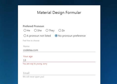 form fields  material design  video background