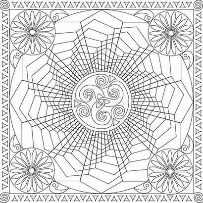 Mandala Coloring Geometric Square Adults Flower Vector