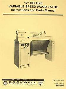 Rockwell 12 U0026quot  Old Style Variable Speed Wood Lathe Manual