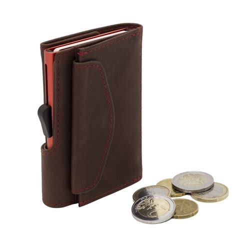 secure aluminum card holder  genuine leather