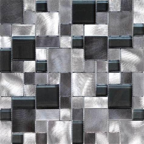 Kitchen Mosaic Backsplash Ideas - 1sf black gray pattern aluminum stainless mosaic tile kitchen backsplash wall mosaic tile
